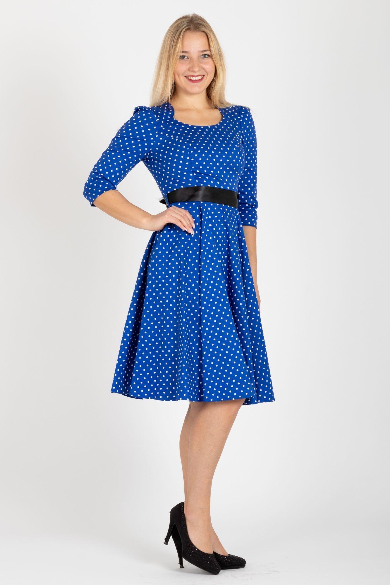 ee6539fab323 ... modré Retro šaty s puntíky Adele