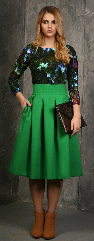 8c171124c53a ... zelená Midi sukně Pažitka