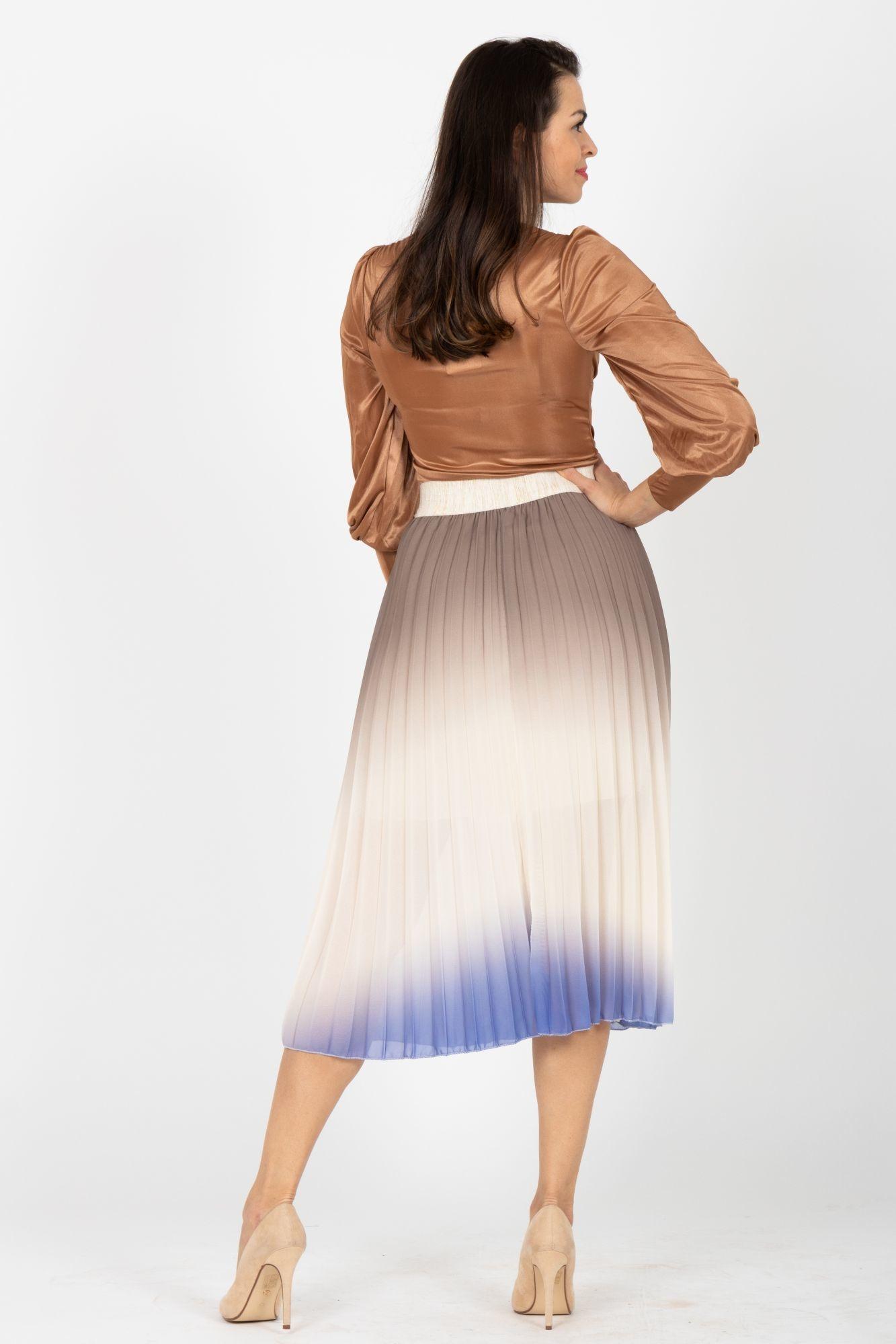 2792e0837fa2 ... hnědá Plisovaná midi sukně Proud