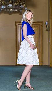 Midi sukně Císařovna, bílá s puntíky