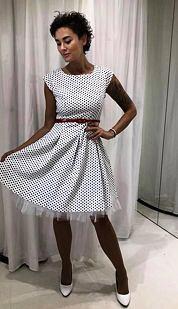 Retro šaty Čočka, bílé s malými puntíky