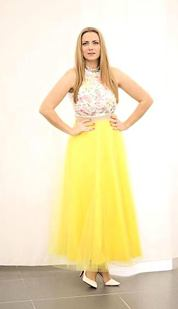 Tylová maxi sukně Long Laney, žlutá