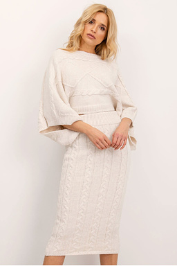 Úpletová sukně Pletýnka, smetanová