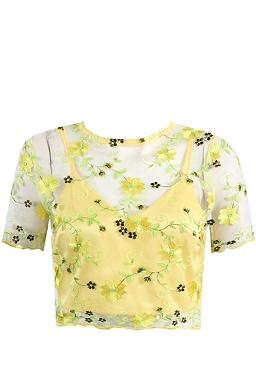 Krajkový crop top Kathy, žlutý