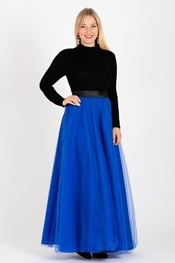 Tylová maxi sukně Long Laney, modrá