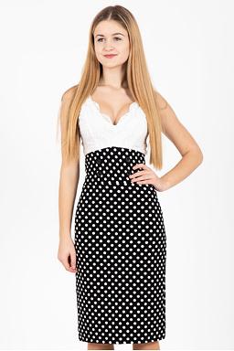 Pouzdrová pasová sukně Valerie, černá s puntíky