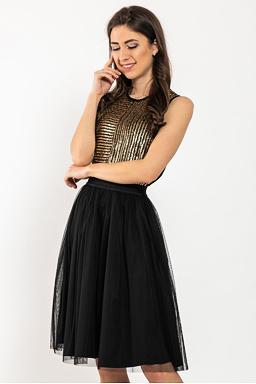 Tylová sukně Lotus, černá