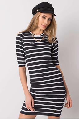 Tričkové šaty Julia, černé/bílé