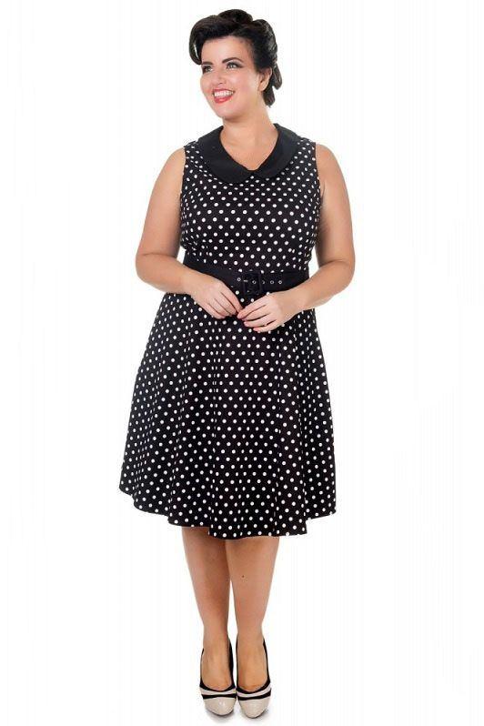 Dolly and Dotty retro šaty Courtney, černé s puntíky