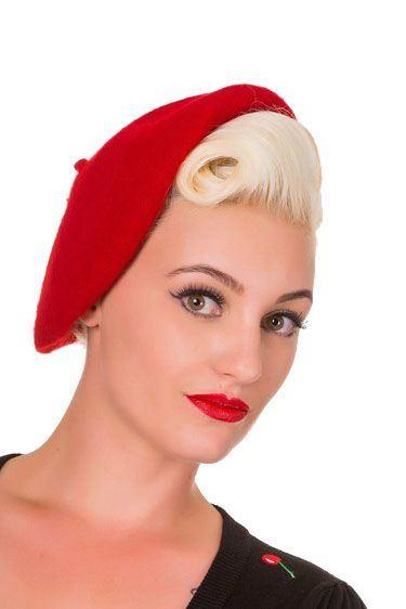 Retro baret Claire, červený
