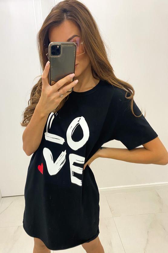 Tričkové šaty Love, černé