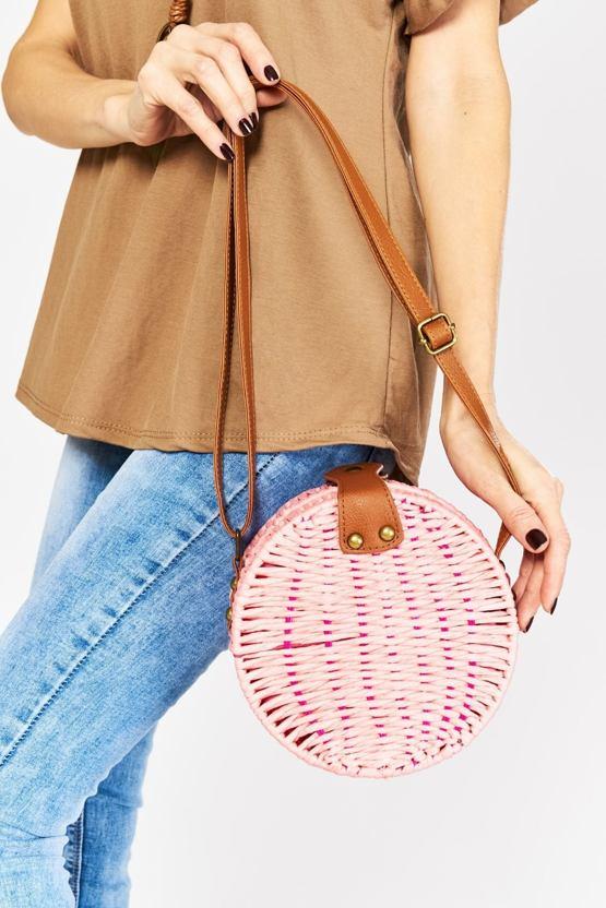 Proutěná kabelka Příhoda, růžová