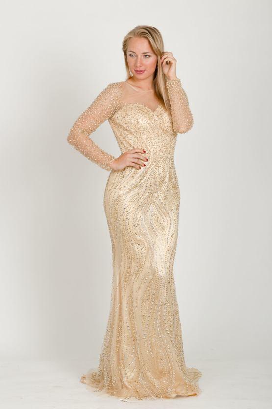 Exkluzivní plesové šaty Sudička, zlaté