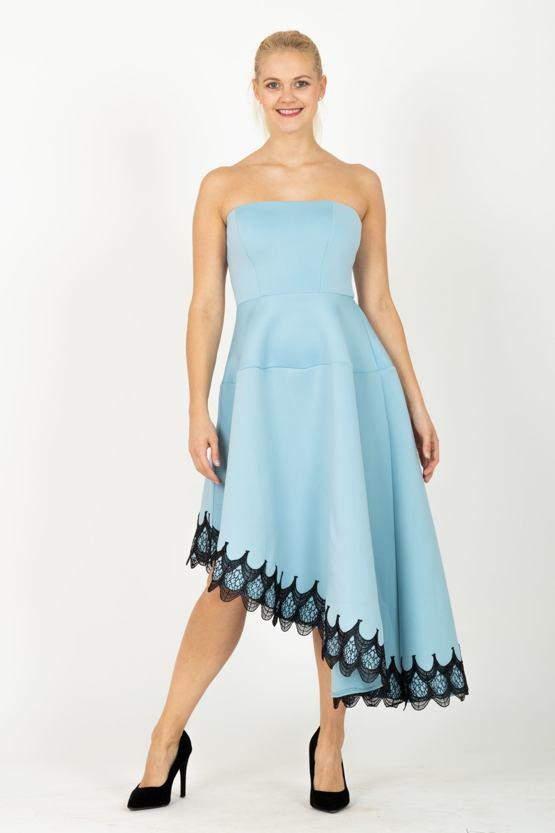 City Goddess šaty Asymetrie, modré