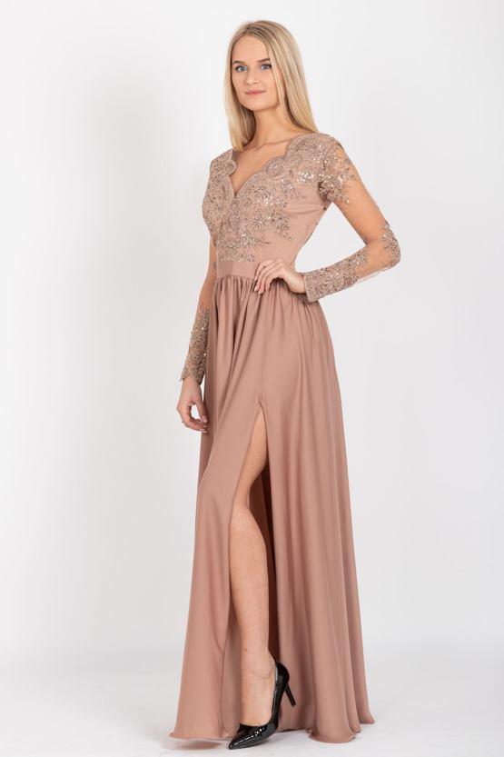 Společenské šaty Arianrhod, světle hnědé