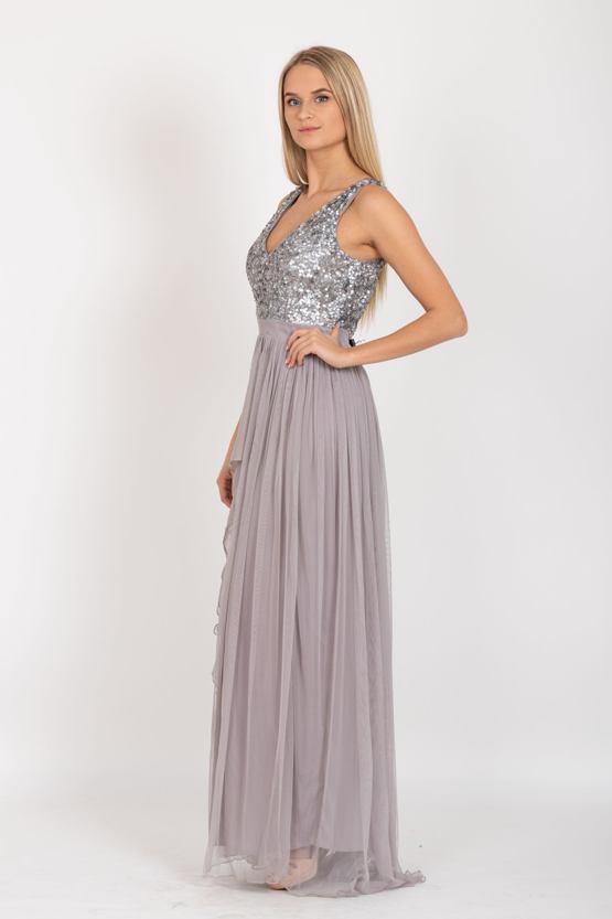 Exkluzivní plesové šaty Yasmin, šedé