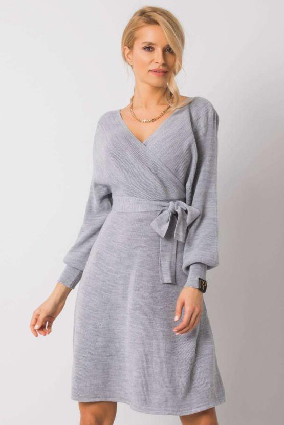 Úpletové šaty Island, šedé