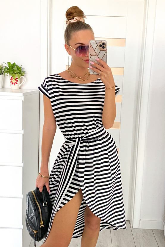 Šaty Plážovky, bílé s černými pruhy