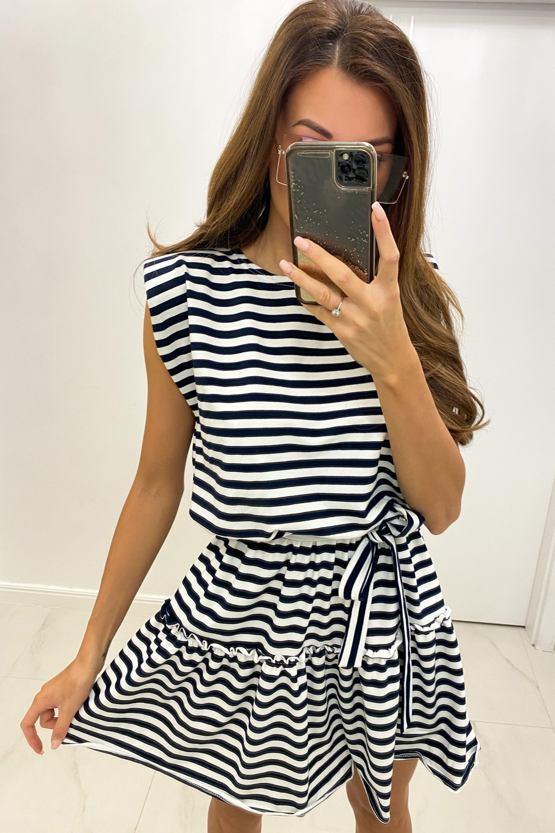 Šaty Zuzka, bílé s modrými pruhy
