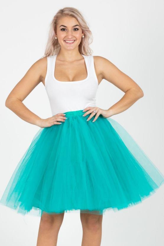 Lunicite tylová sukně Pomněnka, tyrkysová