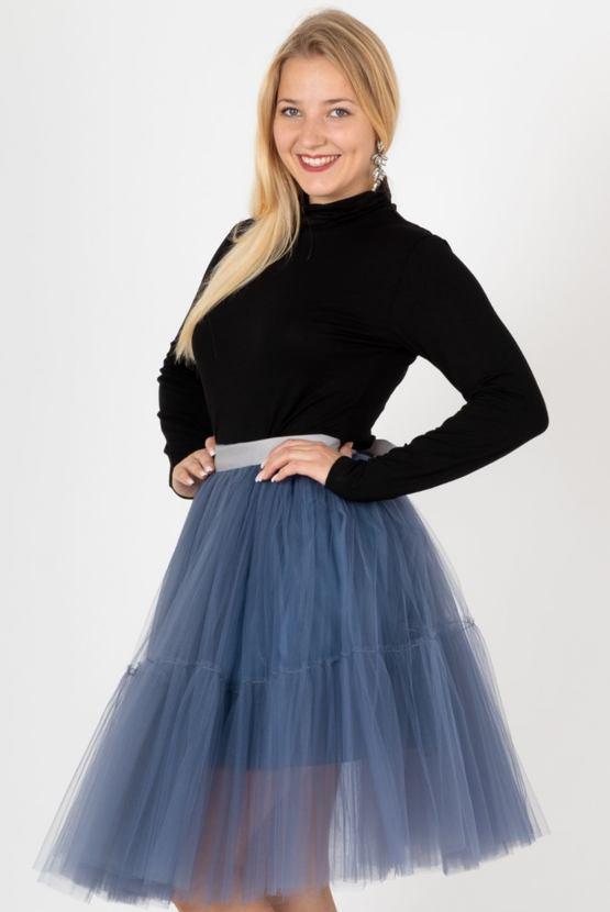 Tylová sukně Charlotte, popelavá