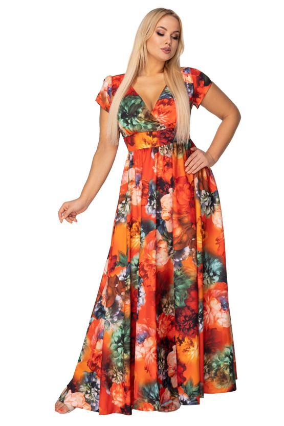 Maxi šaty Plameny léta, oranžové