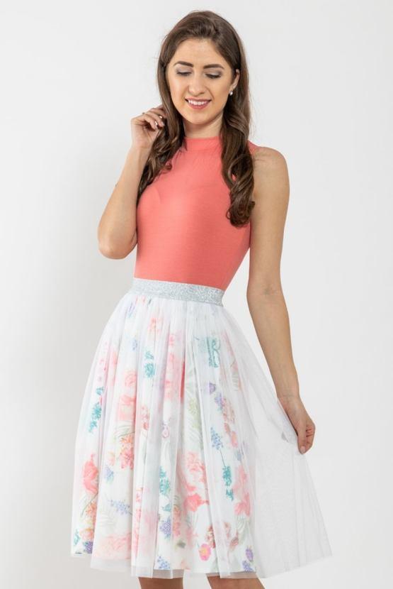 Tylová sukně Jarní bdění, smetanová