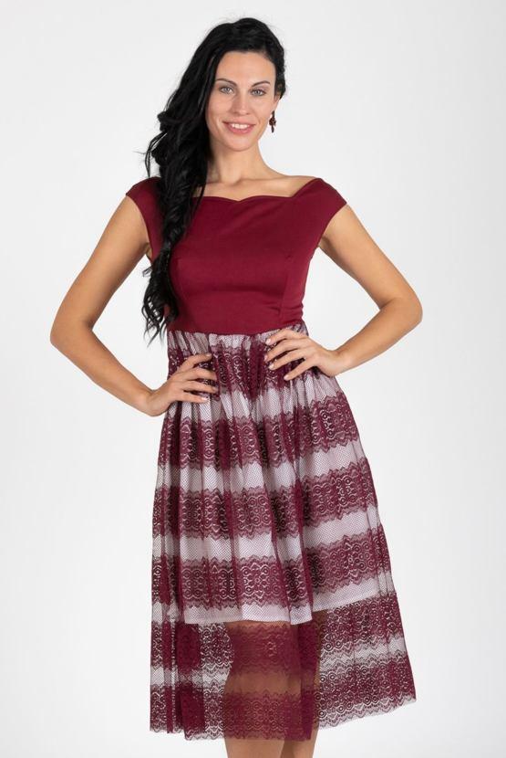 Šaty Waltz, vínové