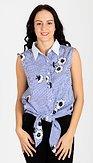 Košilová halenka s výšivkami Susie, modrá