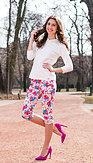 LindyBop tříčtvrteční kalhoty Kendra, bílé