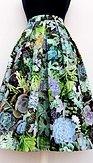 Midi sukně Sukulenty, zelená