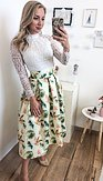 Midi sukně Listonoška, zelenkavá
