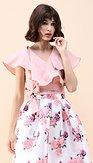 Volánkový crop top Pusinka, růžový